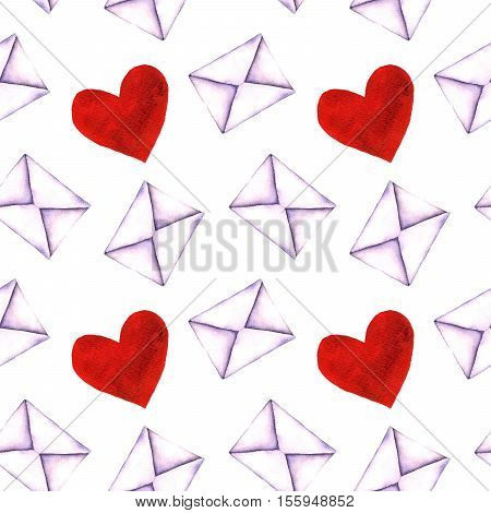 Seamless pattern with old-fashioned mail envelopes painted in watercolor isolated on white background. Seamless pattern with watercolor vintage mail envelopes hand drawn on a white background