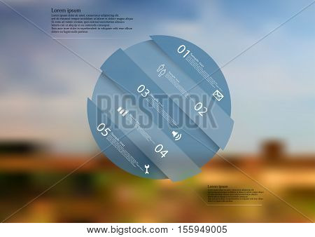 Illustration Infographic Template With Shape Of Askew Divided Circle On Blurred Background