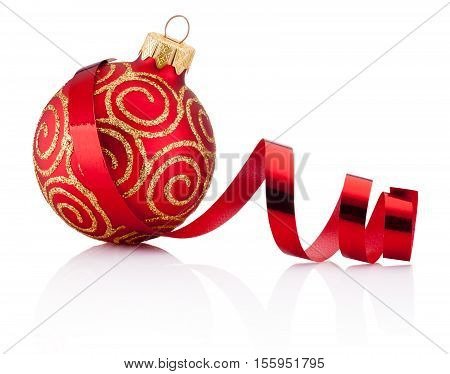 Red Christmas decoration bauble and curling paper Isolated on white background