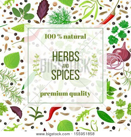 Cooking herbs and spices seamless pattern vector banner set. Popular culinary herbs. Design for cosmetics, store, market, natural health care products. Can be used as logo, label, web, textile, emblem