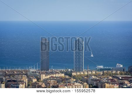 Twin towers of olympic disctrict in Barcelona, spain