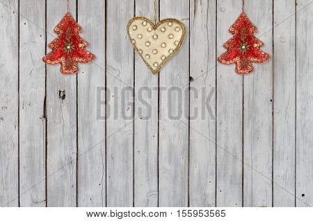 Decoration  with Christmas Trees and Christmas Heart Velvet Ornaments