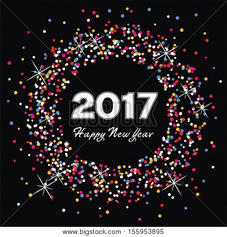 vector colorful background for happy new year 2017 celebration card