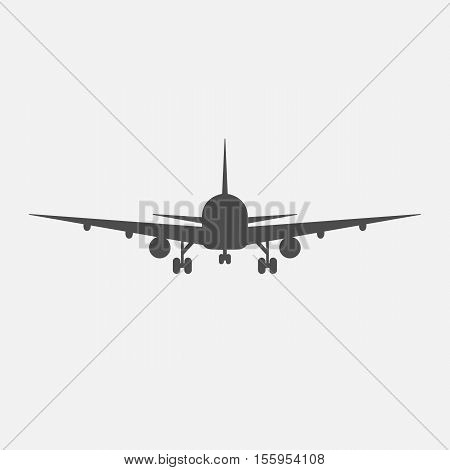 vector illustration line silhouette of an airplane isolated
