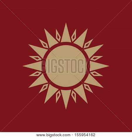 The sun icon. Sunrise and sunshine, weather, sun symbol. UI. Web. Logo. Sign Flat design App Stock vector