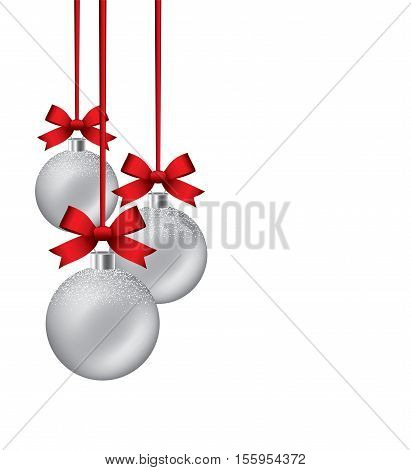vector new year background with hanging xmas balls