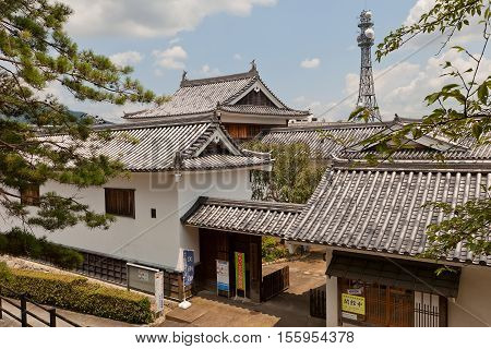 FUKUCHIYAMA JAPAN - JULY 29 2016: Fukuchiyama City Sato Taisei Memorial Art Museum. Located on the grounds of Fukuchiyama castle
