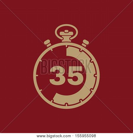 The 35 seconds, minutes stopwatch icon. Clock and watch, timer, countdown, stopwatch symbol. UI. Web. Logo Sign Flat design App Stock vector