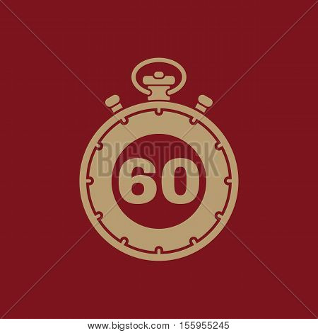 The 60 seconds, minutes stopwatch icon. Clock and watch, timer, countdown, stopwatch symbol. UI. Web. Logo Sign Flat design App Stock vector