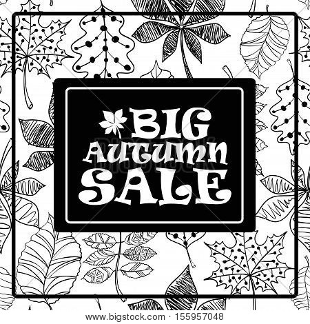 Black and white autumn sale background with tree leaves pattern. Vector illustration.