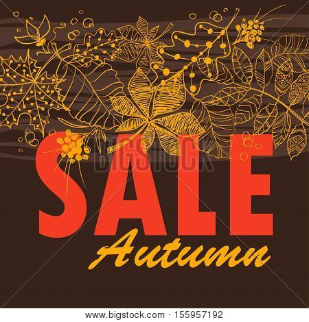 Autumn sale background with tree leaves pattern. Vector illustration.