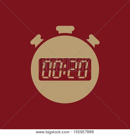 The 20 seconds, minutes stopwatch icon. Clock and watch, timer, countdown, stopwatch symbol. UI. Web. Logo Sign Flat design App Stock vector