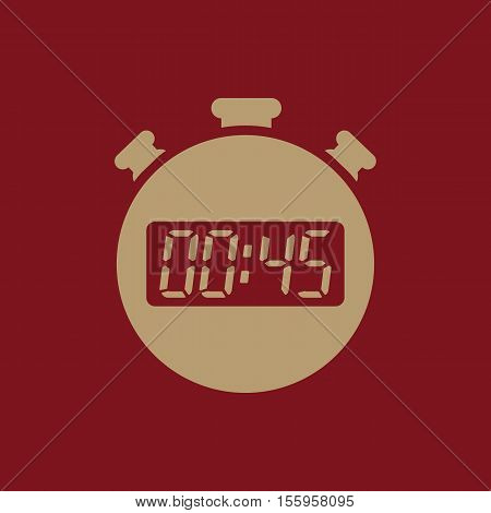 The 45 seconds, minutes stopwatch icon. Clock and watch, timer, countdown, stopwatch symbol. UI. Web. Logo Sign Flat design App Stock vector