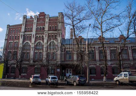 Abandoned historical main building of Voronezh Distillery