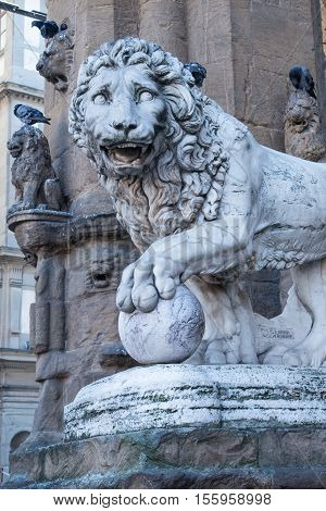 Medici lion by Vacca 1598 Florence Italy