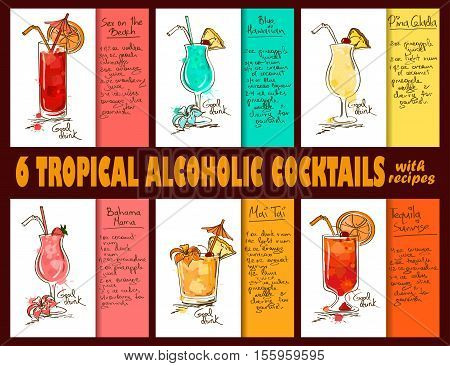 Set of 6 hand drawn tropical alcoholic cocktails. Including recipes and ingredients for restaurant or cafe. Part 3.