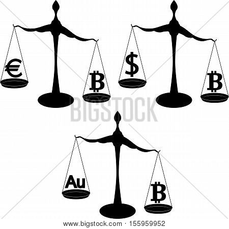 exchange rates - conceptual illustration with symbol of bitcoin dollar euro and gold