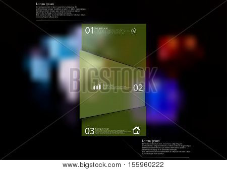 Infographic illustration template with shape of bar randomly divided to three parts with green semi-transparent color. Background is blurred photo with game color dices motif.