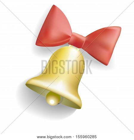Realistic bell with red bow vector illustration