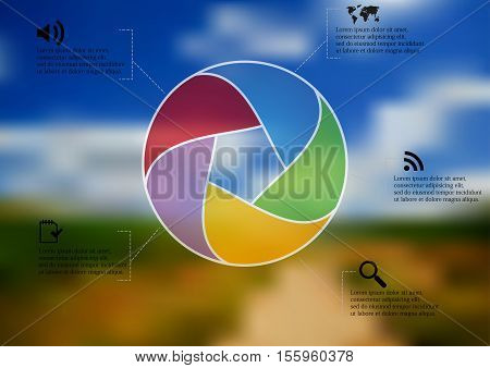 Infographic illustration template with shape of circle divided to five parts with various semi-transparent colors. Background is blurred photo with nature field and sky with path motif.
