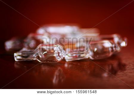 lighting fixtures small transparent diodes on brown table top