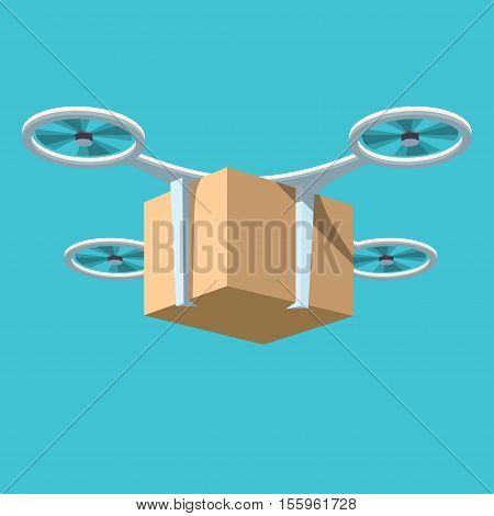 Quadrocopters delivery Vector illustration in flat cartoon style isolated from the background EPS 10