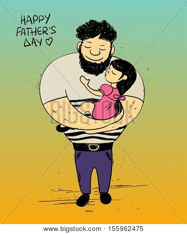 Colorful funny illustration with cute little baby girl daughter hugging dad. Happy Father's day greeting card. Family concept.