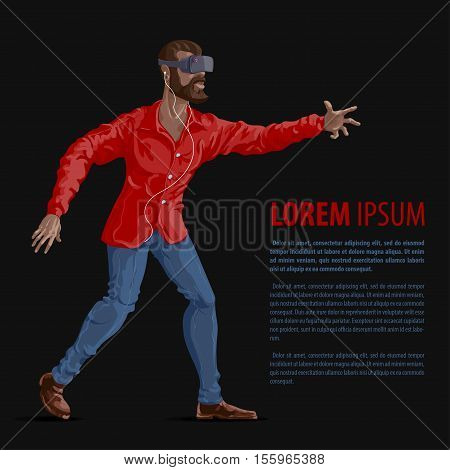 Man in virtual reality headset. Gaming Cyber technologies. VR technology. Virtual reality concept.