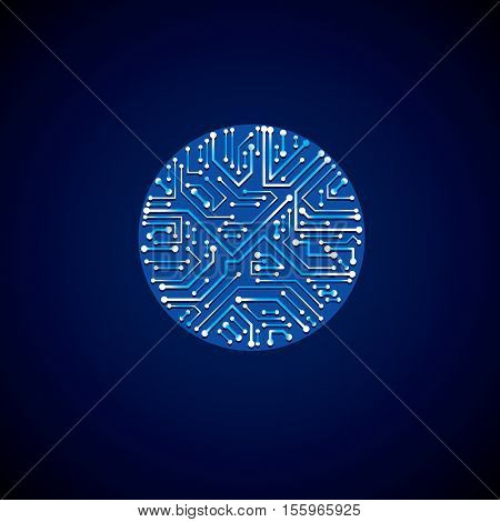 Technology communication luminescent cybernetic element. Vector abstract illustration of neon circuit board
