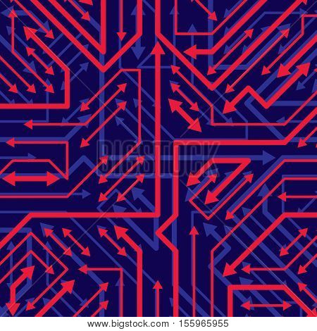 Vector digital technology background with sparkling circuit board elements and arrows neon computer scheme texture. Device component microprocessor abstract shine illustration.
