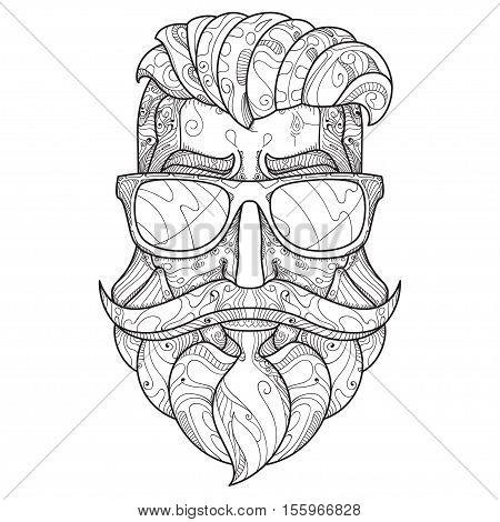 Ornate hipster Vector illustration in Zentangle style. Hand drawn design elements. Vector illustration