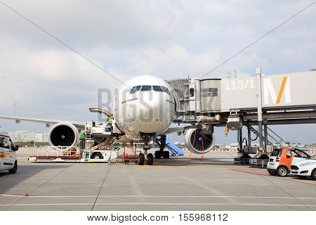 MUNICH, GERMANY - JULY 25, 2016: Aircraft docked in the Munich International Airport, Germany. The Munich Airport (MUC) Germany's second busiest airport is a major hub for Lufthansa (LH).