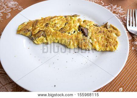 Close Up of a Porcini Mushroom Omelet