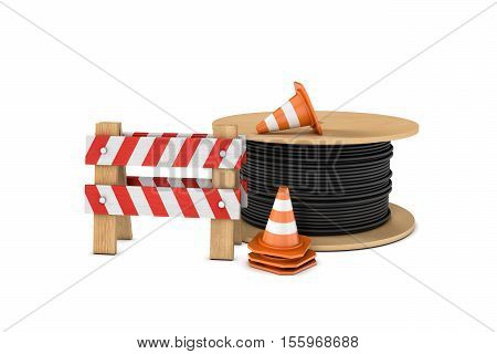 3d rendering of several construction cones, fence and a cable coil, all isolated on the white background. Traffic signs. Safety gear and equipment. Construction site.