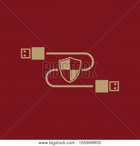 The secure connection icon. Transfer and connection, data, antivirus, firewall, secure symbol. UI. Web. Logo Sign Flat design App Stock vector