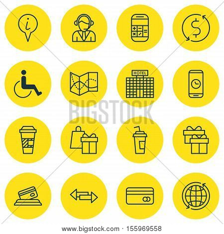 Set Of Transportation Icons On Takeaway Coffee, World And Present Topics. Editable Vector Illustrati