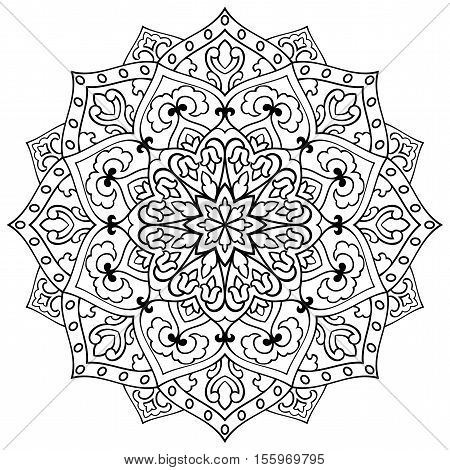 Vector simple mandala with abstract elements isolated on white background. Oriental ethnic ornament. Template for carpet and any surfaces. Design element.