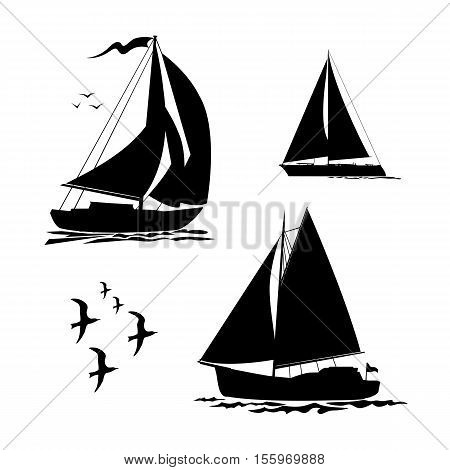 Yacht sailboats and gull set. Black silhouette isolated on white background. Stock vector illustration.