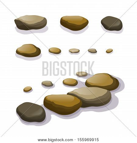 Vector set of different boulders and stones isolated on white. Rocks single or piled rubble for game art architecture design. Stock illustration.