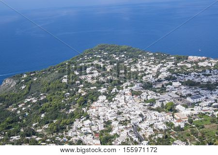 View of the Coast Line of Anacapri See from the Chair Lift Up Mount Solaro in Italy