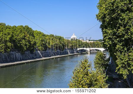 St. Peter's Basilica Seen from Right Side of Tiber River in Rome
