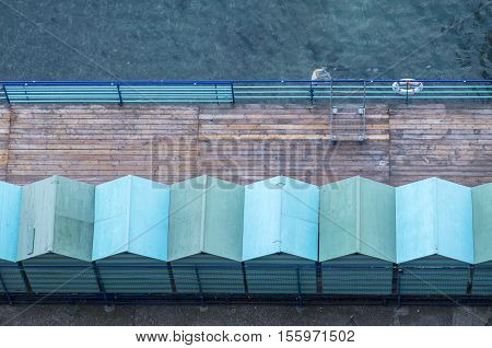 Bird's Eye View of Cabins on a Pier by the Mediterranean Sea