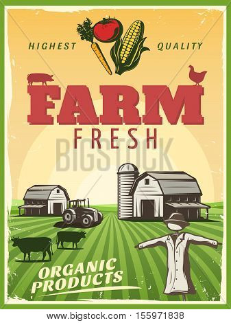Fresh organic products retro poster with highest quality background stylized ranch farm and strawman symbols vector illustration
