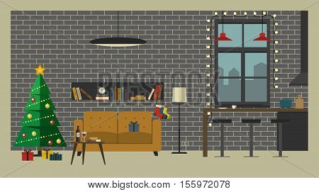 Christmas tree in living room with furniture in flat style. Vector interior of  living room with Christmas tree, bar and kitchen.
