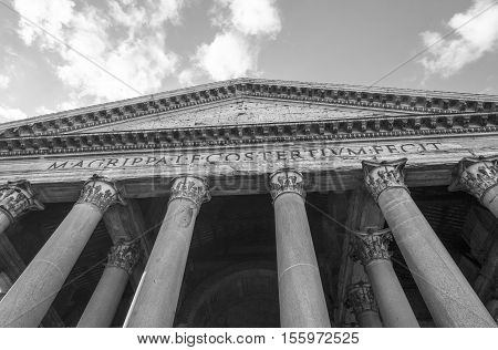 Black and White Facade of the Pantheon in Rome Italy