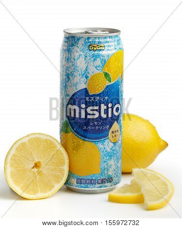 KYIV UKRAINE - SEPTEMBER 18 2015. Editorial photo of DyDo Mistio Crystal Lemon Squash non-alcoholic carbonated drink by DyDo Drinco Inc. Drink can with lemon segments isolated on white background.