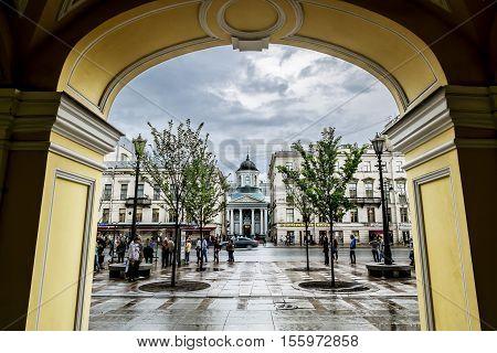 Saint-Petersburg.Russia.June 17 2016. The views of the Armenian Apostolic Church of St. Catherine opposite the arcade on Nevsky Prospekt