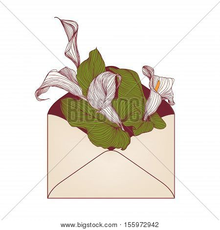 Envelope With Calla Flowers