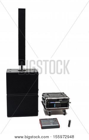 Acoustic system front view on the isolated background