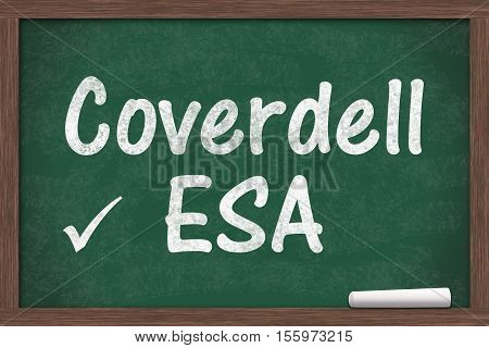 Your Coverdell education savings account Chalkboard with a piece of chalk and text Coverdell ESA 3D Illustration
